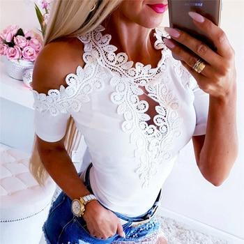 Women Summer Lace Top Short Sleeve T-shirt Bandage Tee shirt Femme Elegant Fashion tshirt Off Shoulder Ladies Streetwear grey slit design off the shoulder t shirt