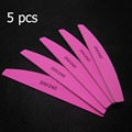 5 Unids/lote Doble Cara Rosa Forma de Media Luna Lima de Uñas 200/240 Grit Pulido Lima de Uñas Stirp Ues Resistente Espuma De Lima junta