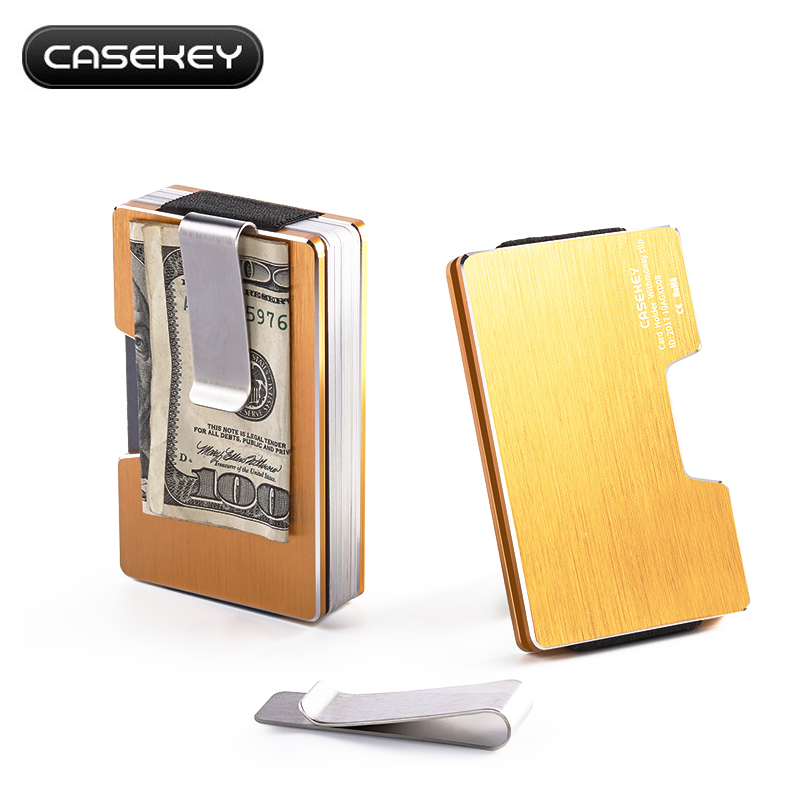 Minimalist Aluminum Money Clip Wallet for Female Stainless Metal Men Bills Slim Purses with RFID blocking Portable Money Clip