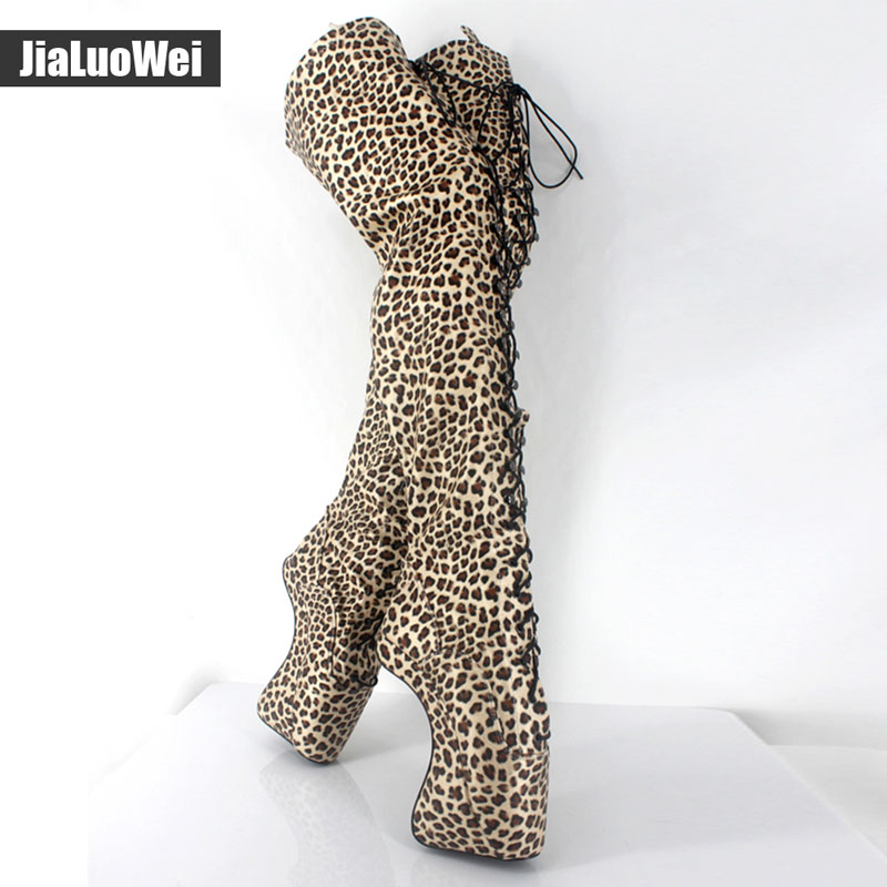 Jialuowei New Extreme 18cm/7 High Heels Fetish Sexy BALLET Boots Sex matt zip Wedges leather Over-the-Knee thigh High Boots jialuowei brand new 18cm extreme high heel sexy fetish over knee thigh long boots woman pointed toe fashionable boots for women