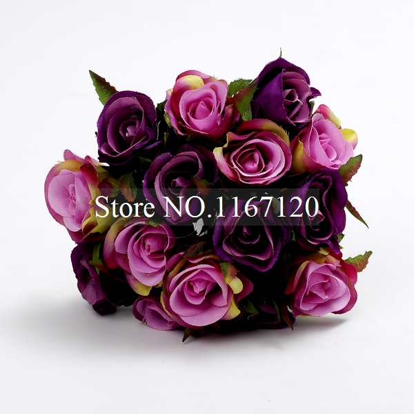 Free Shipping 2017 Light Dark Purple 15heads Bunch Artificial Silk Flower Roses Posy Wedding Bridal