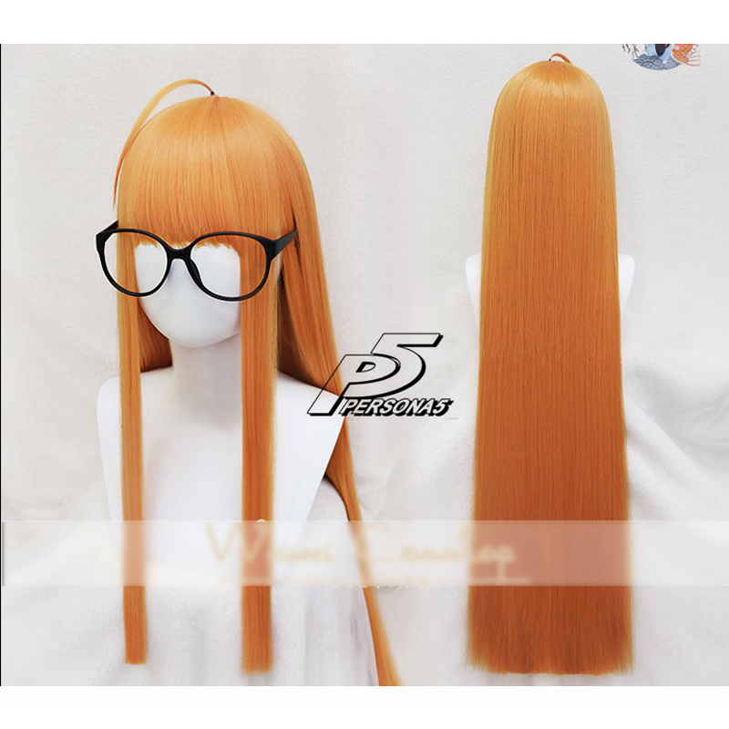 2018 Anime Brown Long Wig Persona 5 Futaba Sakura Male Cosplay Costume Women Synthetic Hairs School Girls Party Role Play Wigs