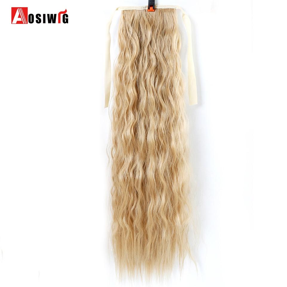 22 tum lång vågig hästsvans för svarta kvinnor vin röda hår - Syntetiskt hår - Foto 5