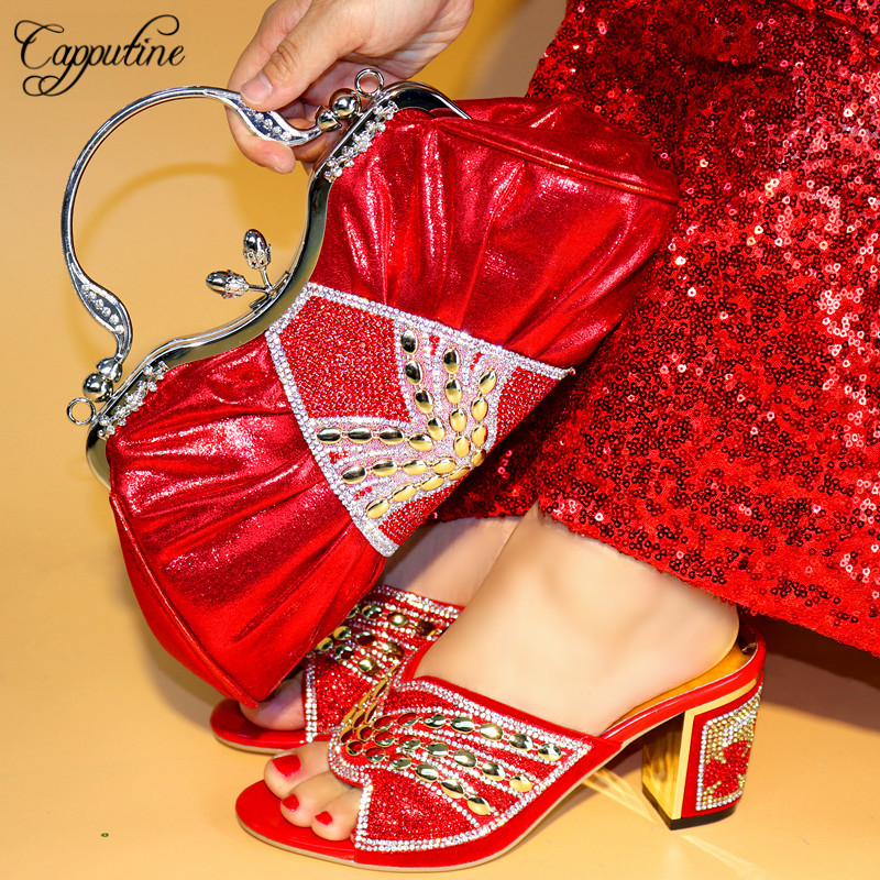 Capputine Red Color Slipper Shoes And Bag Sets For Women Italian Shoes With Matching Bags For Wedding Party On Stock TX-96 цена