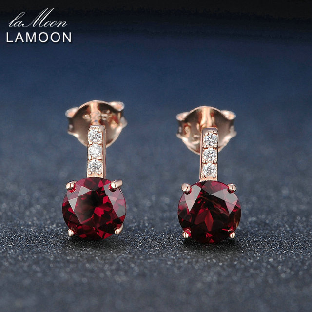 Lamoon Trendy 2ct Natural Red Garnet 925 Sterling Silver Stud Earrings Fine Jewelry For Women  S925 LMEI031