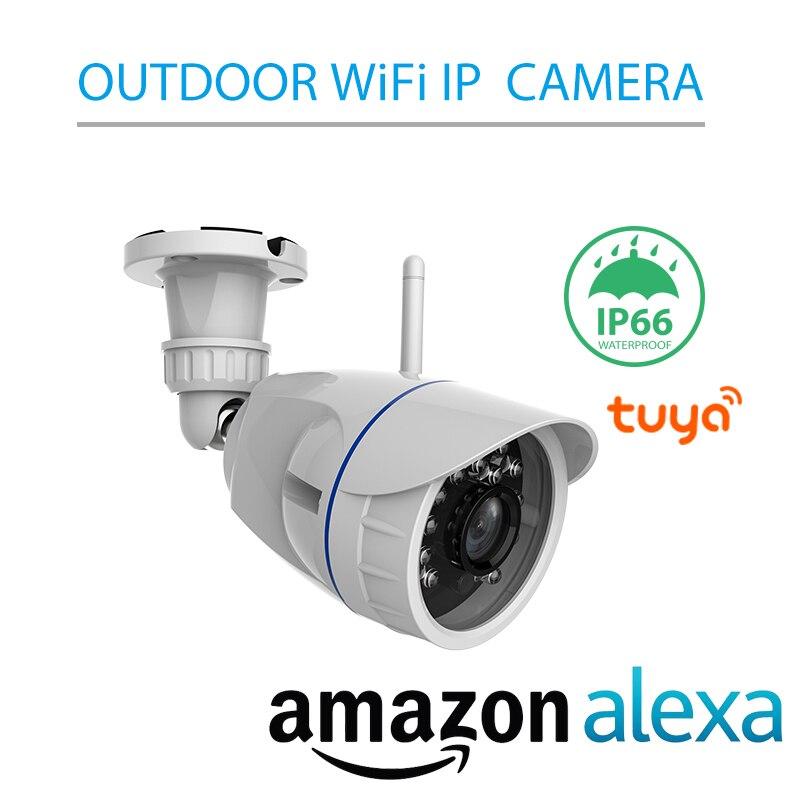 Alexa Voice Control Smart Tuya IP66 Certified Outdoor Infrared P2P Wireless WiFi Security Camera Waterproof