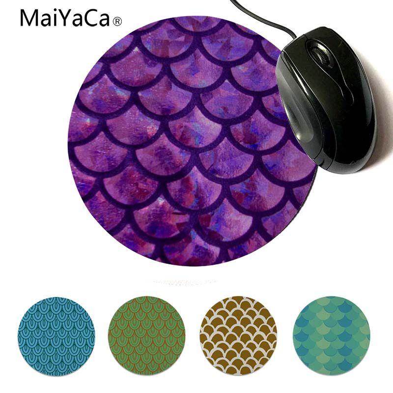 MaiYaCa Нескользящие PC рыбья чешуя геймер Скорость мыши розничной небольшие резиновые Мышь коврик круглый коврик для мыши 22x22 см 20x20 см