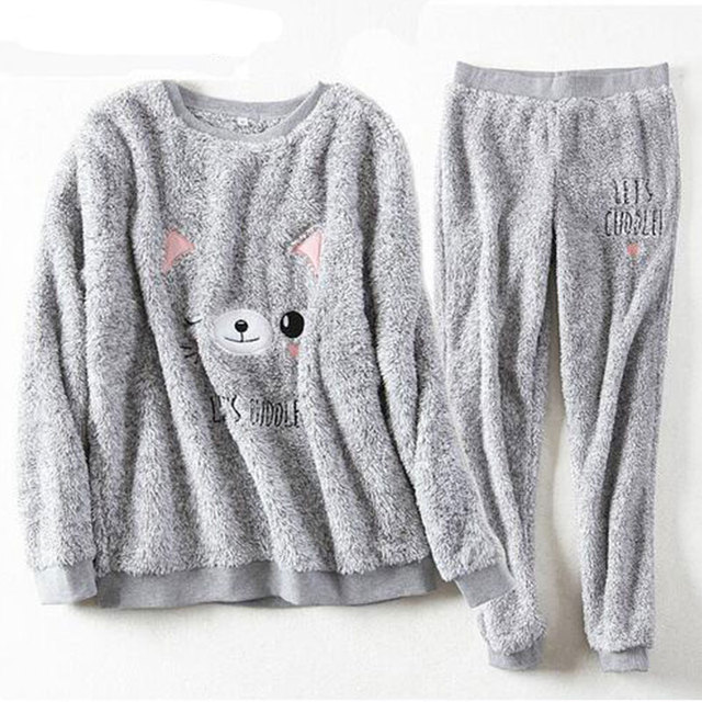 Autumn and Winter Thick Warm Women Pyjamas Sets Coral Velvet Suit Flannel Long Sleeve Female Cartoon Bear Animal Pajama Sets