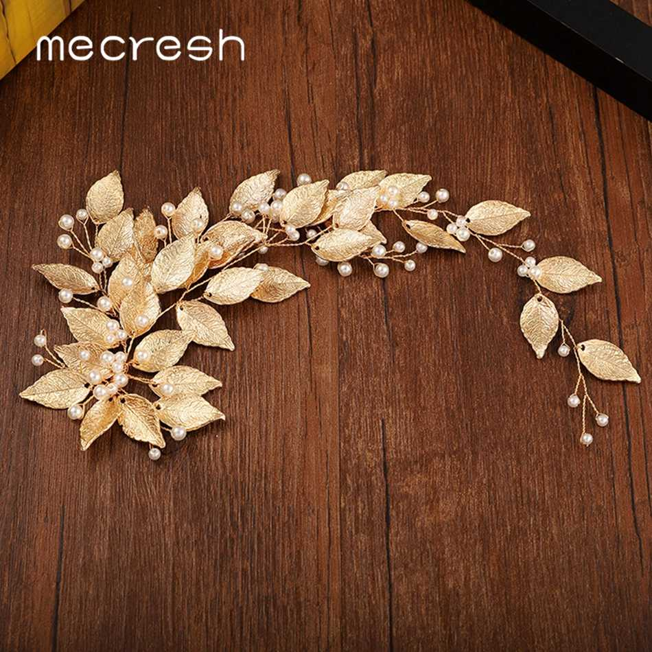 Mecresh Gold Color Floral Bridal Hair Combs Tiara Wedding Hair Accessories Handmade Leaf Headpieces Hair Jewelry For Bride FS189