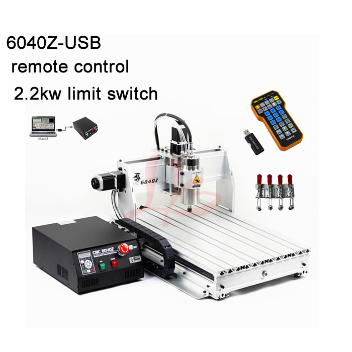 HIGH precison 2.2KW 6040 cnc engraving router metal milling machine+mach3 remote control+limit switch work area 375*575*68mm cnc router engraving machine price 6090 mach 3 control system
