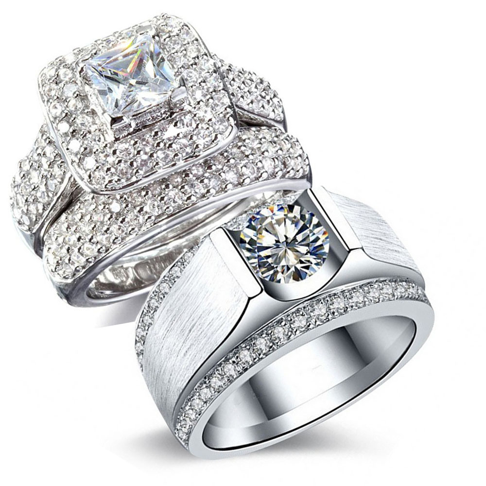 His Her Couple Rings Luxury Jewelry 14kt White Gold Filled Pave