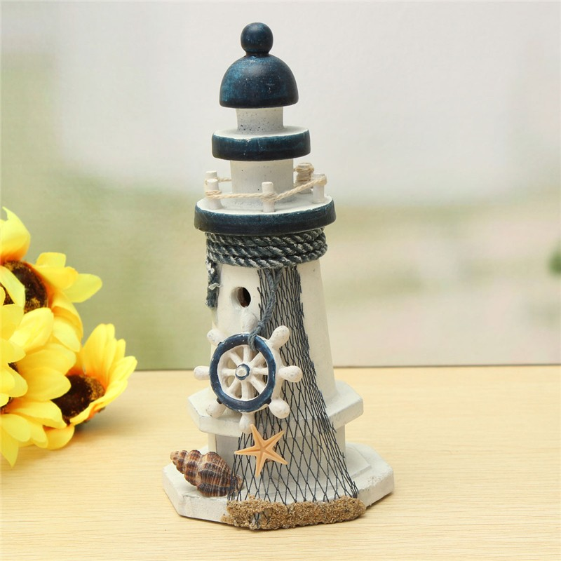 KiWarm Handmade Wooden Mediterranean Lighthouse Light Tower Fishing Net Cover Star Fish Shells Lifebuoy For Home Decor Crafts