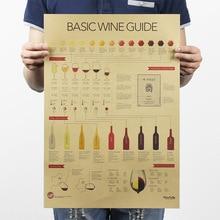 Cartel de papel Kraft Vintage de guía de degustación de vino decoración del hogar de la Oficina de la escuela clásica cafetería Bar Decoración Retro Posters