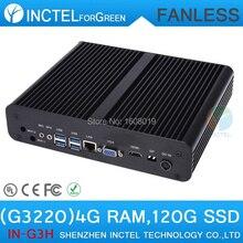 Intel H87 Fanless Mini PC Computer with Pentium Dual Core G3220 3.0Ghz CPU HDMI VGA display 4G RAM 120G SSD