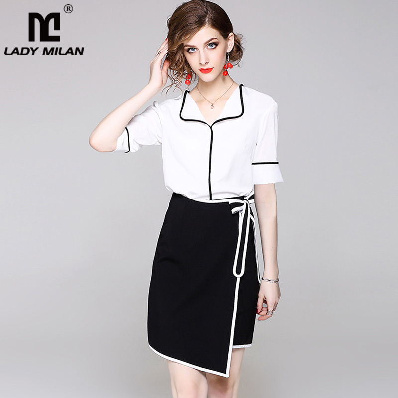 Womens Turn Down Collar Short Sleeves Black Piping Shirts with Pencil Skirts Fashion Two Piece Dresses Twinsets