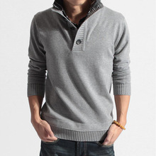 Youth popular men's ripple thickened sleeve head men's pullovers mandarin collar sweater long sleeved men casual slim sweater