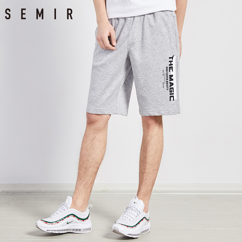 SEMIR mens short leisure male 2018 summer wear tide new men Knee Length shorts mens trousers Letter Print Cotton Jogger Short