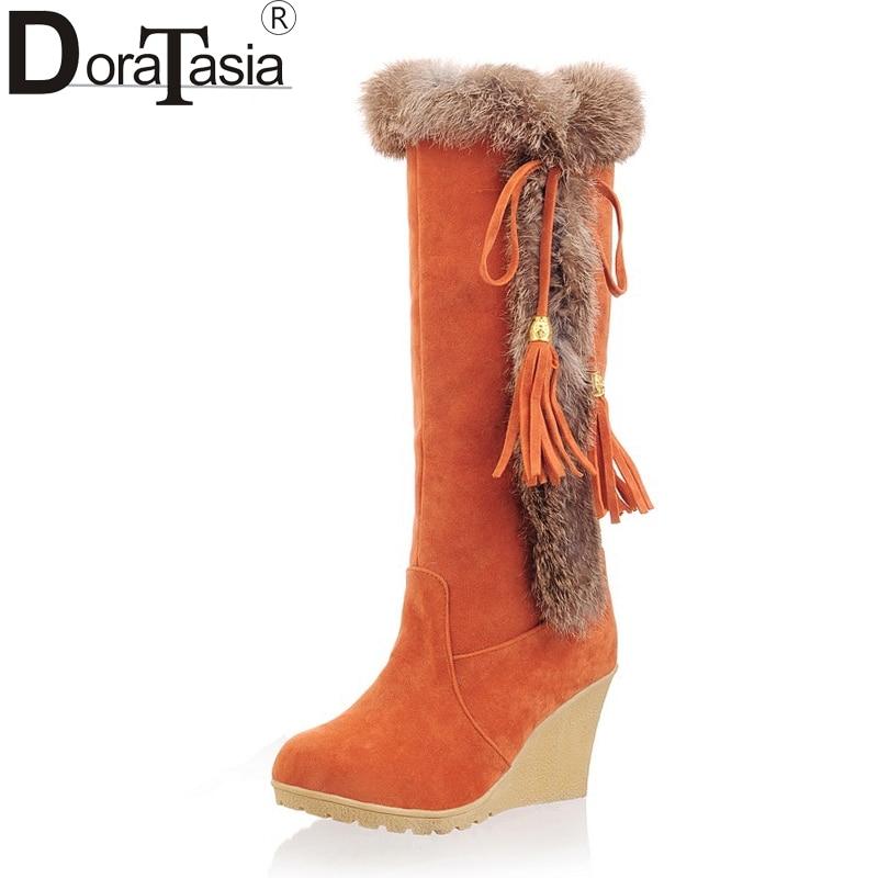 0ea07f9457df DoraTasia 2017 talla grande 33-42 cuñas tacones altos de piel caliente  zapatos de invierno mujer ...