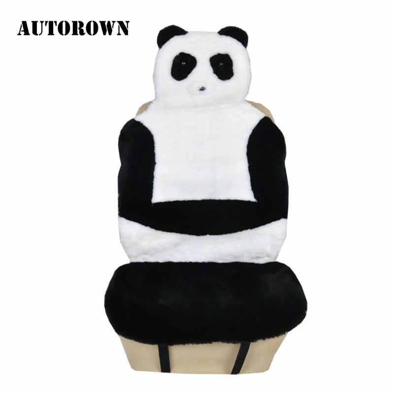 AUTOROWN Меховая накидка панда из искусственного меха Универсальный размер Милые и теплые чехол на сиденья автомобиля Легко устанавливается Аксессуары для интерьера Накидка из меха