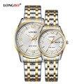 Amantes longbo reloj de oro reloj de cuarzo hombres mujeres 2017 de primeras marcas de lujo relojes de pulsera de cuarzo-reloj relogio masculino feminino