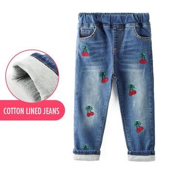 2018 Baby Kids Katoen Gevoerde Warme Winter Jeans Voor Meisjes Cherry Geborduurd Denim Lange Broek Peuter Kinderen Broek Leggings