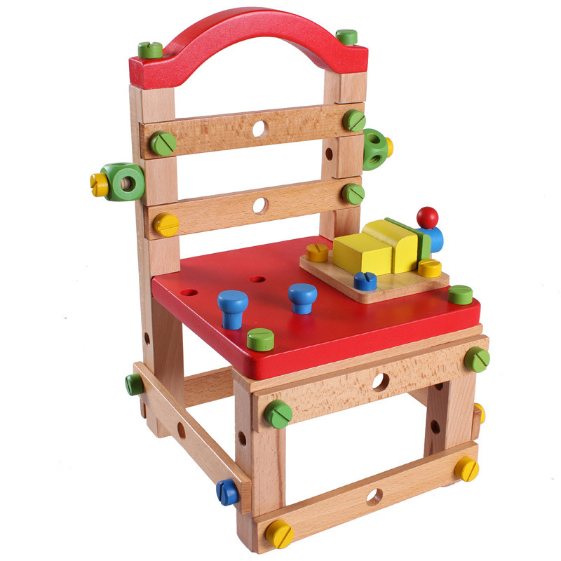 Garçon jouets modèle de passe-temps orme bois sagesse outil chaise écrou démontage combinaison Luban chaise enfants jouets éducatifs