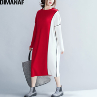 DIMANAF Women Long Dresses Winter Plus Size Cotton Knitting Elastic Thicken Female Lady Vestido Patchwork Sweater Dress Red 2018