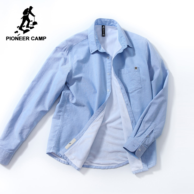 Pioneer Camp New Winter Thick Fleece Long Sleeve Shirt Men Brand Clothing Simple Solid Warm Shirts Male 100% Cotton ACC801499