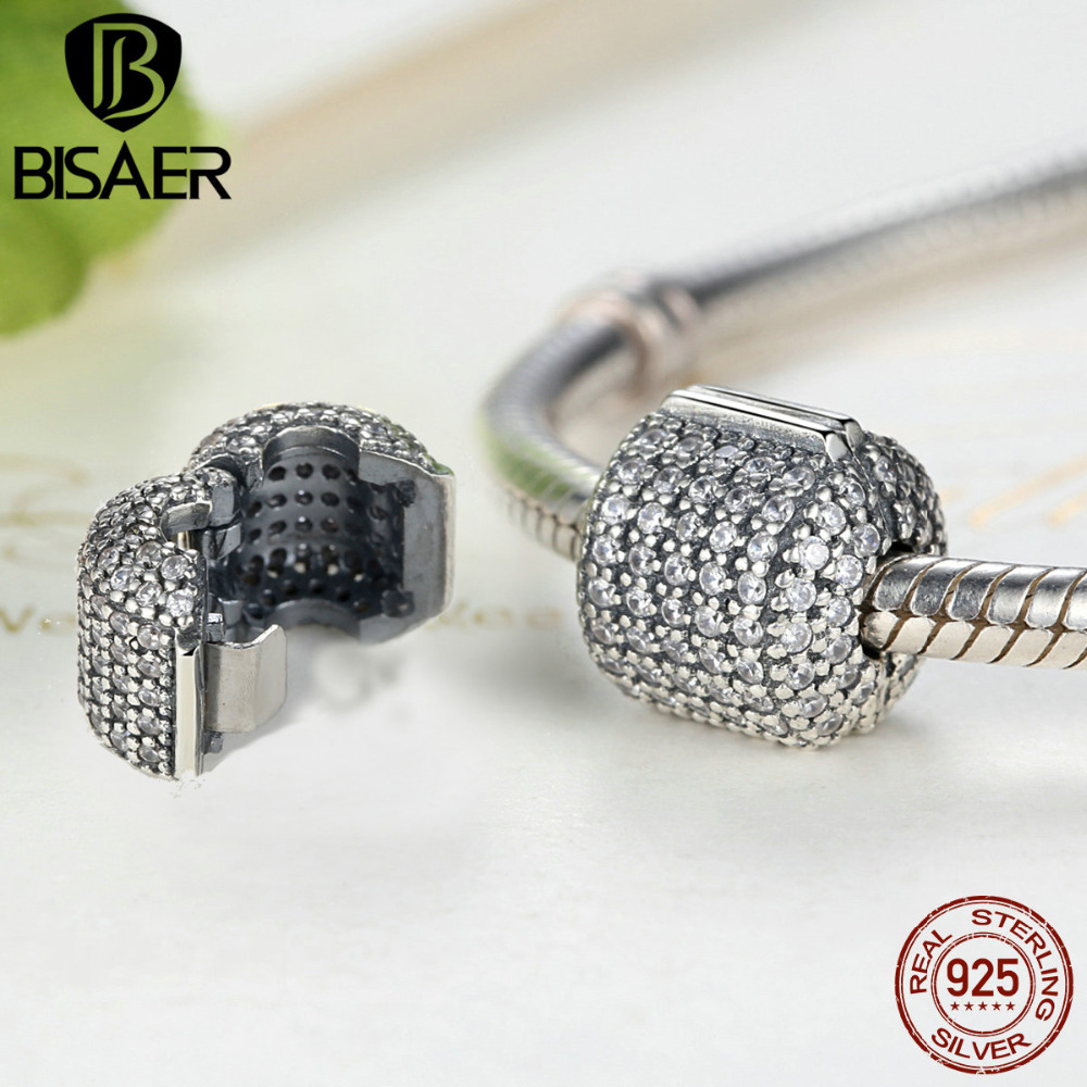 Authentic 925 Sterling Silver Stopper Pave Barrel, Clear CZ Clip Charms Fit Pan Charm Bracelet Women DIY Jewelry HTC012