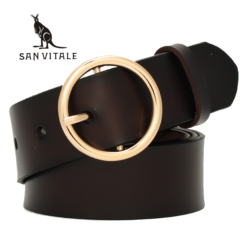 SAN VITALE 2017 New Designer Fashion Women's   Belts   Genuine Leather Brand Straps Female Waistband Buckles luxury casual for Jeans
