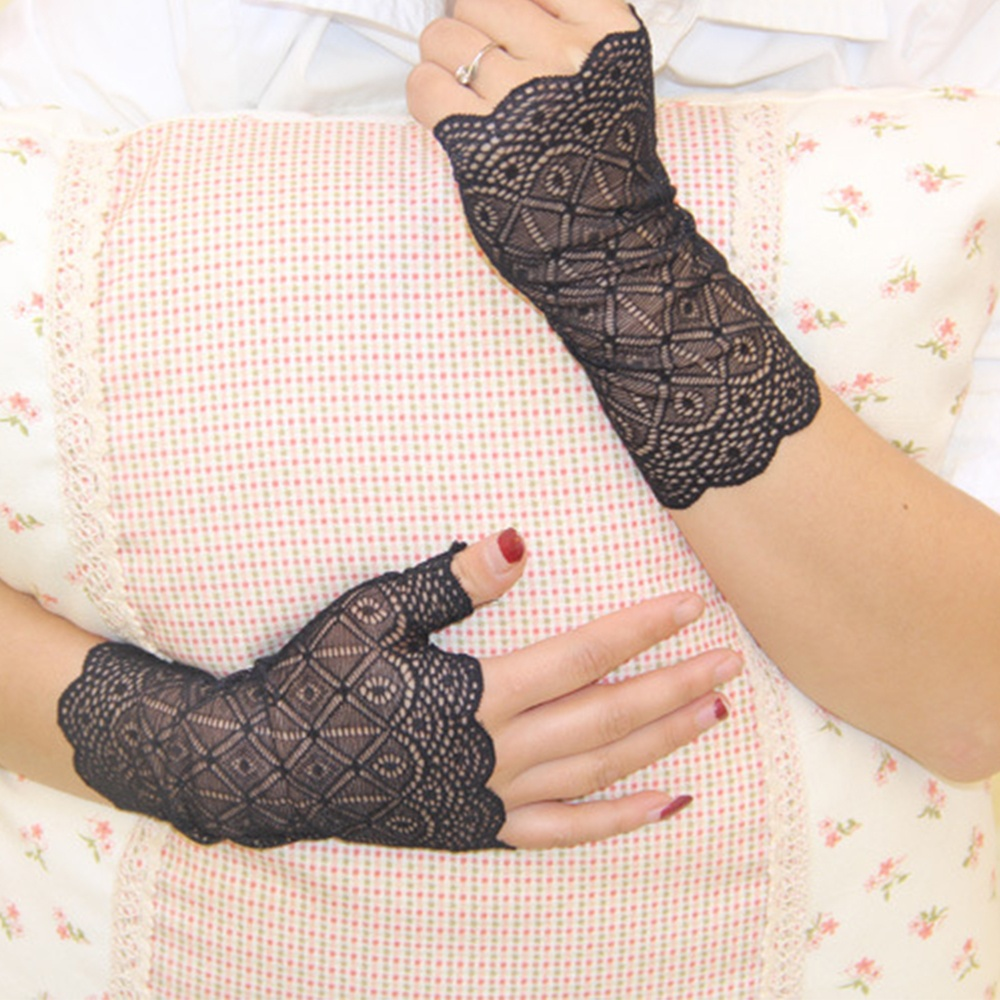 1 Pair Charming Sunscreen Fingerless Gloves Driving Anti-uv Lace Party Gloves For Woman Girl
