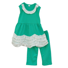 2016 Factory Selling Girls Boutique Clothing Set Sleeveless Multi layers White Lace Green Capris Baby Girl