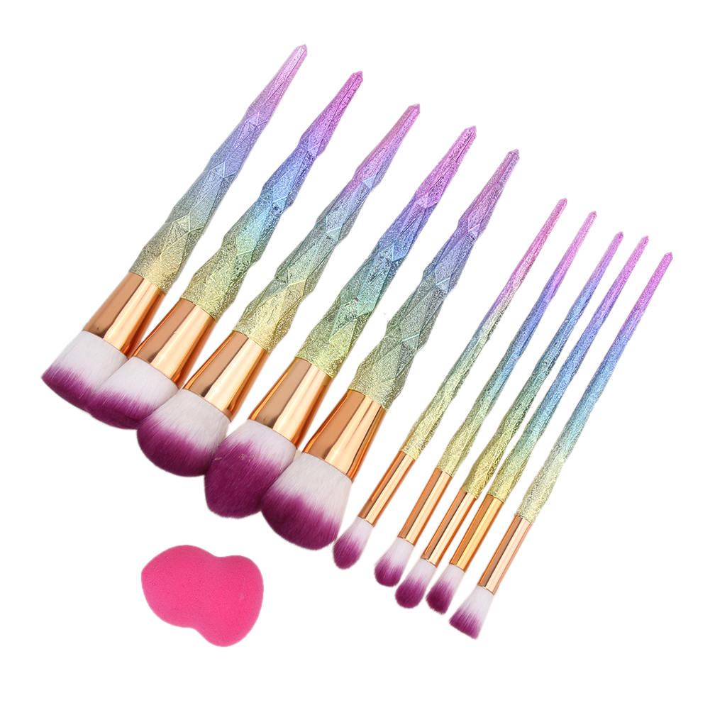 10pcs Stylish Contour Blush Brushes Powder Foundation Cosmetic Tool + Makeup Puff Sponge Portable High Quality Brush Set outtop best deal new good quality pink colour sponge puff 24 pcs cosmetic makeup brushes foundation brushes tool 1 set