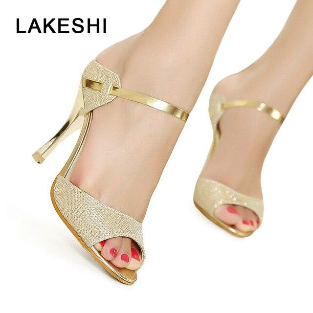 Lakeshiのぞき見つま先女性パンプスハイヒール靴ゴールドシルバー女性ヒール靴ファッション薄いかかとサンダル夏の女性の靴