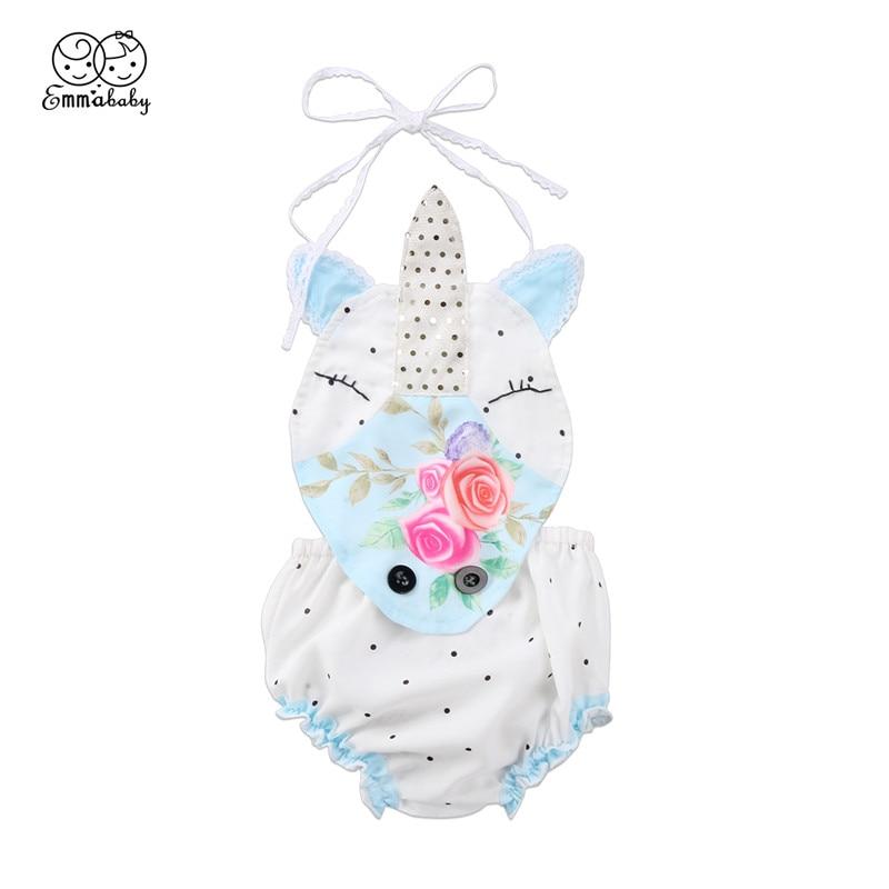 2018 New Summer Baby Girl Romper Hot Sale Newborn Babys Girl Unicorn Dot Flower Romper Sleeveless Jumpsuit Sunsuit Baby Clothing