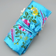 Silk Bags Jewelry Travel 10pcs/lot Mix Color 11* 8 inch Embroidery Three Zip Drawstring Roll Pouch