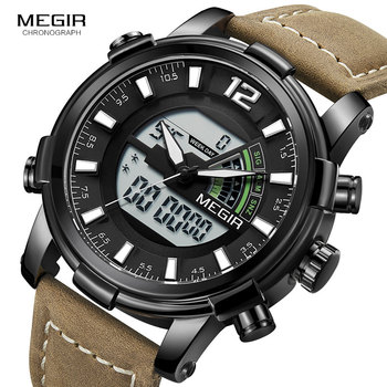 Megir Men's Digital Chronograph Quartz Watches Sports Double Time Zone Leather Strap Luminous Hands Wrist Watch Man 2089G Black