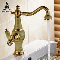 New Luxur Golden Brass Jade Body Bathroom Basin Faucet Deck Mount Countertop Mixer Tap Hot And