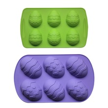 6 Gitter Osterei-geformte silikonform Für Käse, Kuchenform Silikon Schokoladenform Jello Puddingform Set von 2