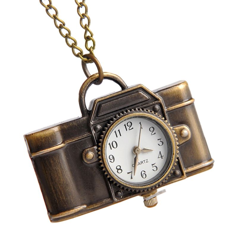 Pocket Watch Quartz Vintage Camera Shape Creative Fashion Mini Chain Portable Party Charm Women Necklace Pendant Bronze Ornament