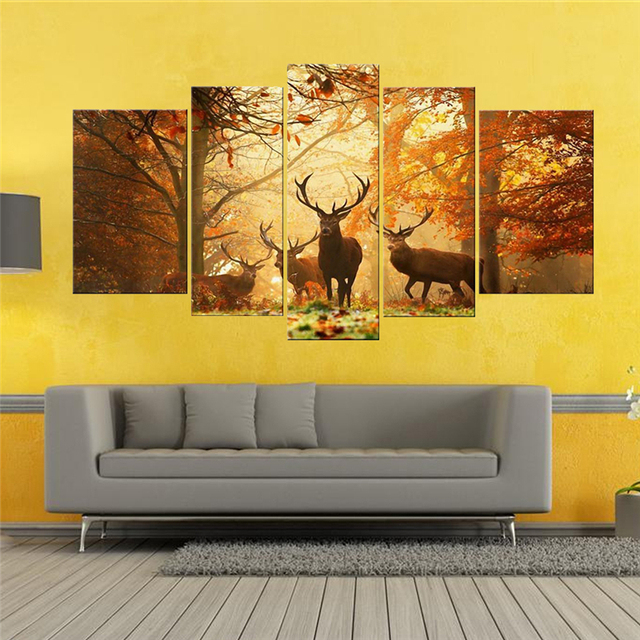 Brown 5 Panel Wall Art Painting Deer In Autumn Forest Pictures ...