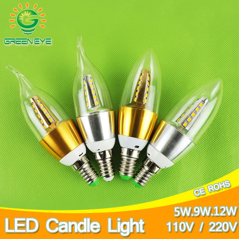 Candle Bulb LED E14 9w 5w Aluminum Shell LED Light 110V 220V Led Lamp E14 Golden Silver Cool Warm White Lampara Zarovka SMD 5730 mllse anime naruto cartoon headphone headphones gaming headset gamer stereo headphones for girls for mobile phone mp3 player pc