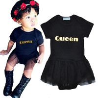 New Summer Infant Jumpsuit Short Sleeve Baby Clothes Letter Queen Toddler Romper Lace tutu Dress Newborn Child Girl Clothes