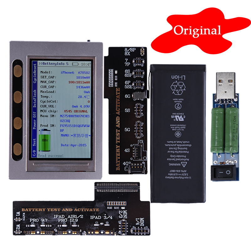 Repair Tools For iPad iPhone Battery Tester X 8 8P 7 7P 6 6P 6S 6SP 5 5S 4 4S Clear Cycle Count Battery Charging Test