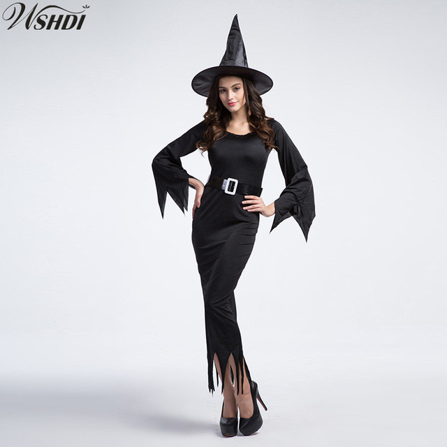 fba50ef8ca5 Sexy Witch Costume Adult Womens Magic Moment Costume Black Evil Witch  Halloween Carnival Fancy Dress