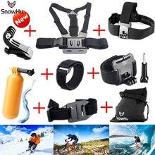 цена на SnowHu For Gopro Accessories Chest Belt+J-Hook Buckle Mount For Go pro Hero 7 6 5 4 3+ For Xiaomi Yi 4K+ eken h9 Camera GS22