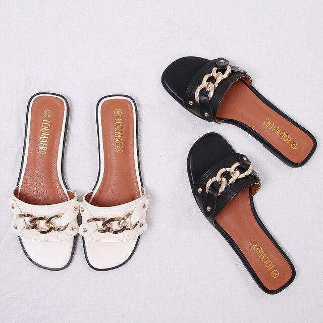 2a44abc8d12f Цепи Дизайн Женские босоножки летние шлепанцы женские пляжные сандалии Цепи  триггеров заклепки дизайн шлепанцы Большие размеры