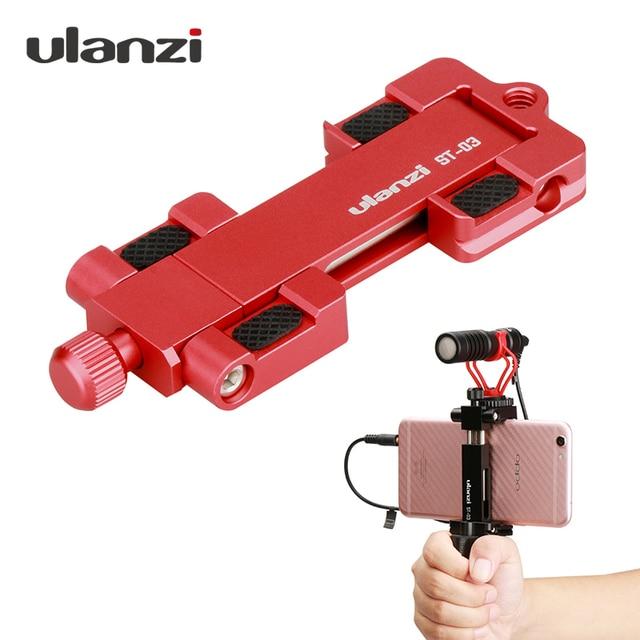 Ulanzi abrazadera de montaje para trípode de teléfono ST 03, adaptador de soporte para teléfono inteligente con zapata fría para iPhone X 7, Samsung, Xiaomi BY MM1, luz Led