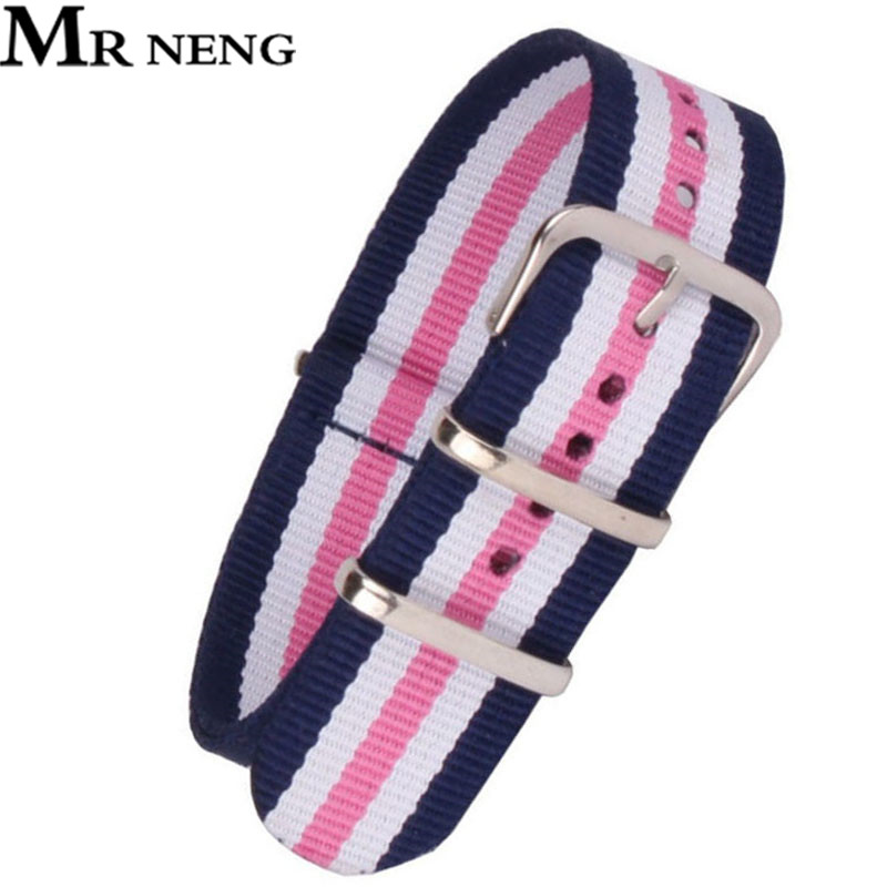 MR NENG Top Quality 12mm 14mm 16mm 18mm 20mm 22mm Navy White Pink Diver 3 Keepers NATO Waterproof Nylon Strap Watch Band 14MM mr neng brand 1 pcs wholesale fashion nylon woven for perlon straps different colors 20mm 22mm watchband 14mm 16mm 18mm