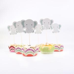 Image 2 - 24 ピース/ロットかわいい象のテーマパーティーのためのカップケーキトッパー家族ベビーシャワーの誕生日パーティーの装飾用品